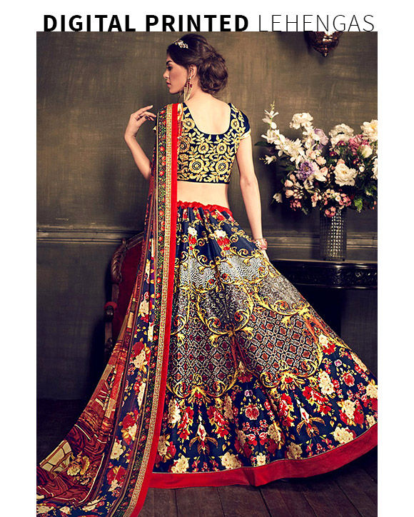 Lovely collection of Digital Printed Lehenga Cholis. Buy Now!