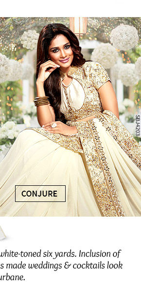 A lovely collection of Party Wear Sarees in White hue. Shop Now!