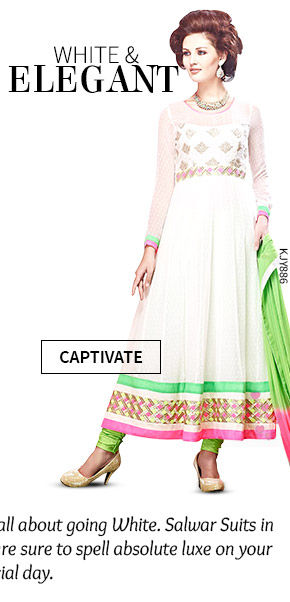 A wide array of beautiful Wedding Salwar Suits in White color. Shop Now!