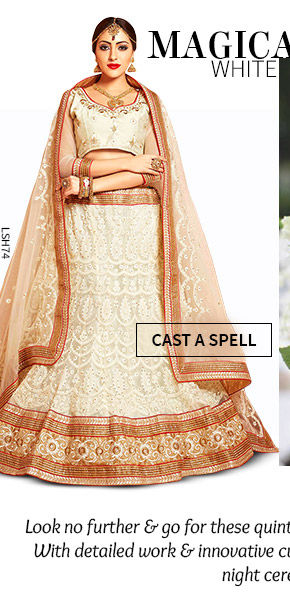 A gorgeous array of Lehenga Cholis in White Hue. Shop Now!