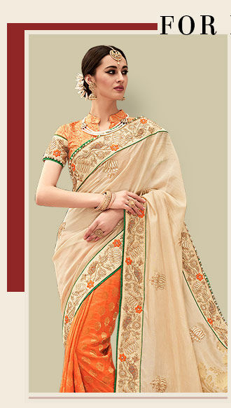 A beautiful repertoire of Half N Half Sarees. Shop Now!