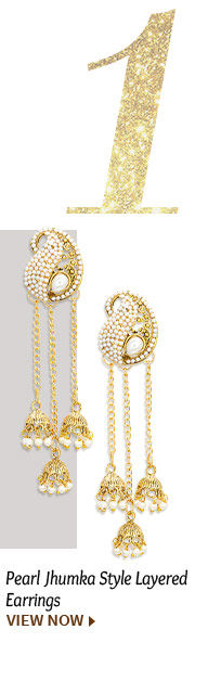 Pearl Jhumka Style Layered Earrings