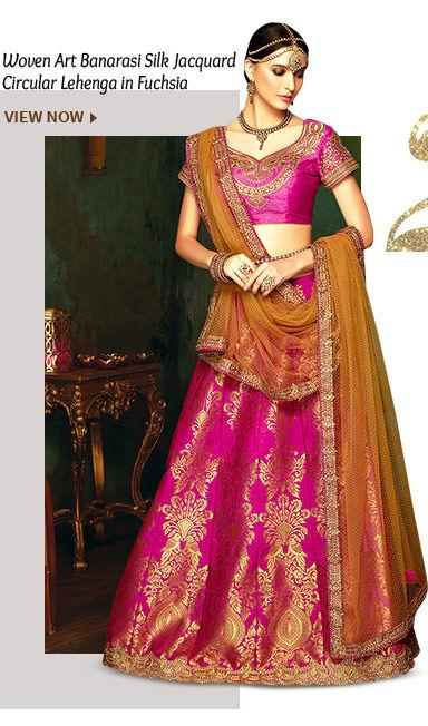 Woven Art Banarasi Silk Jacquard Circular Lehenga in Fuchsia