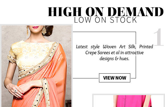 A myriad of attractive Woven Art Silk, Printed Crepe Sarees & more. Buy Now!