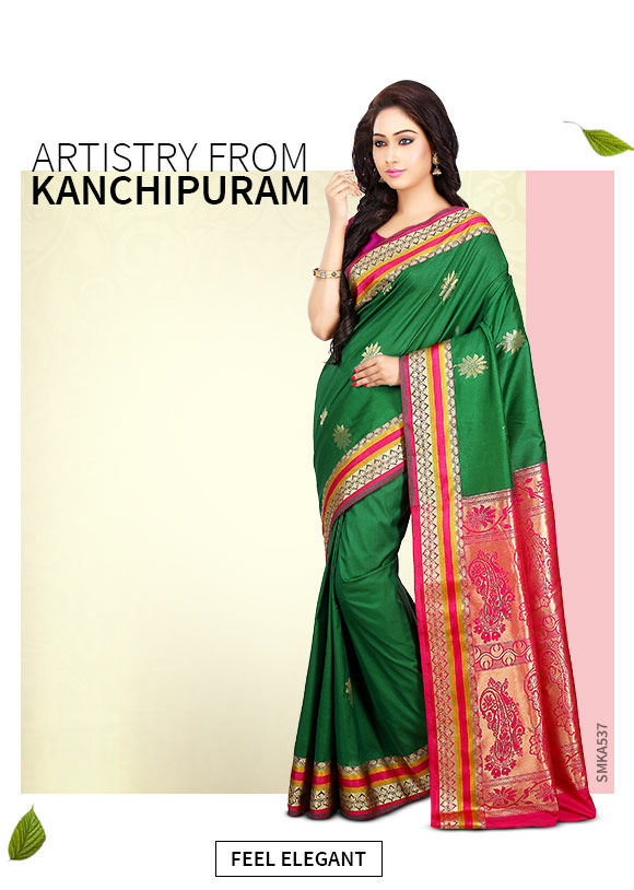 A gorgeous range of Attires in Kanchipuram Silk. Shop Now!
