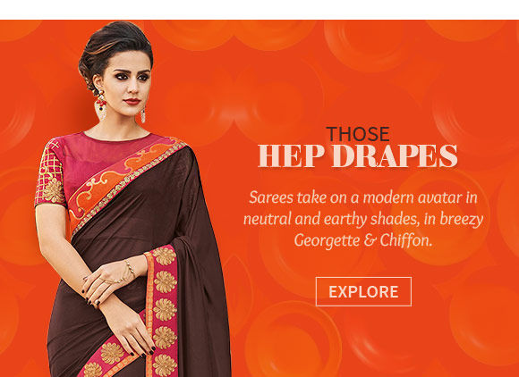 Contemporary Saree Collection of Half-n-Half Sarees, neutral colors, Georgette and Chiffon fabrics. Shop!