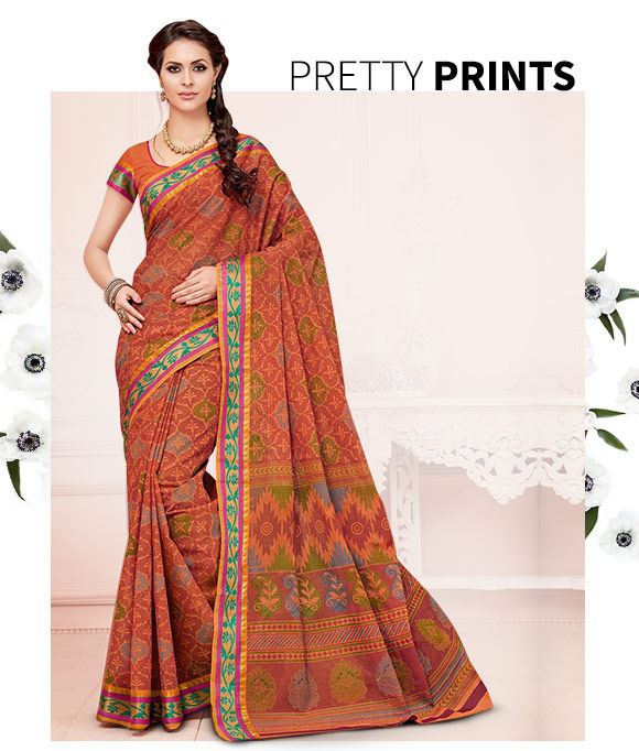 New Arrival in Printed Cotton Sarees. Shop Now!