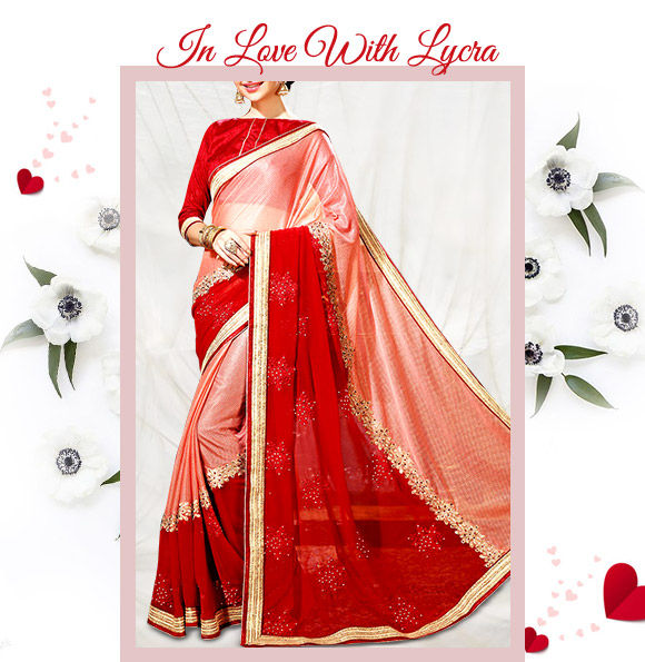 A lovely repertoire of Lycra Sarees in attractive hues & designs. Buy Now!