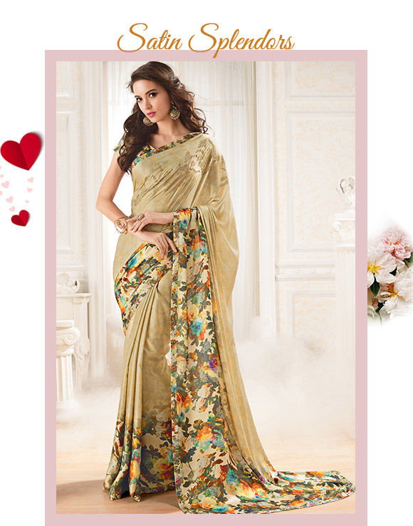 A gorgeous range of Satin Sarees. Buy Now!