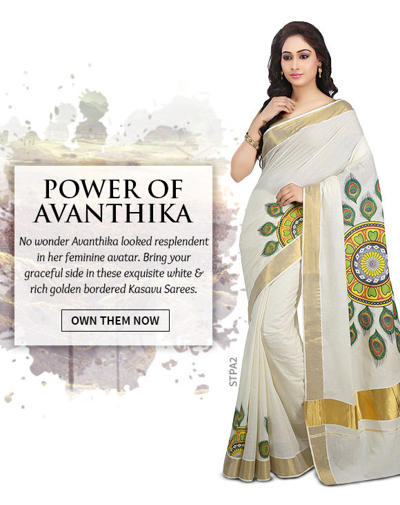 A lovely array of Kasavu Sarees. Shop Now!