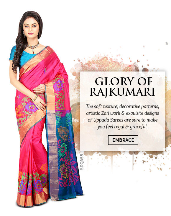 A beautiful array of Uppada Sarees. Shop Now!