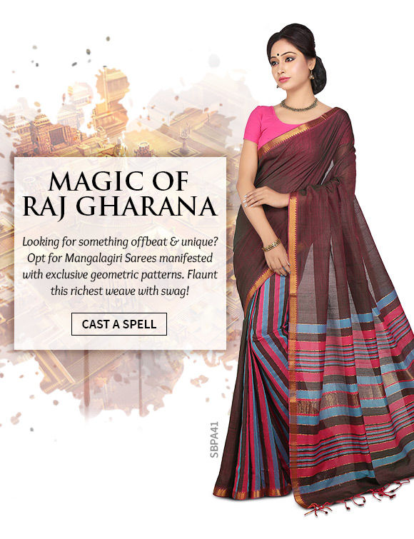 Pick your favorite from our lovely range of Mangalgiri Sarees. Shop Now!