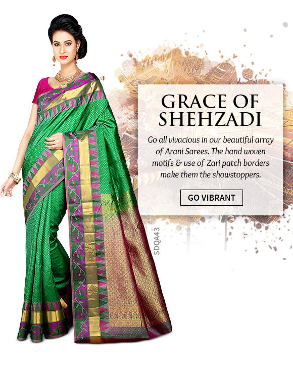 A stunning repertoire of Arani Silk Sarees. Shop Now!