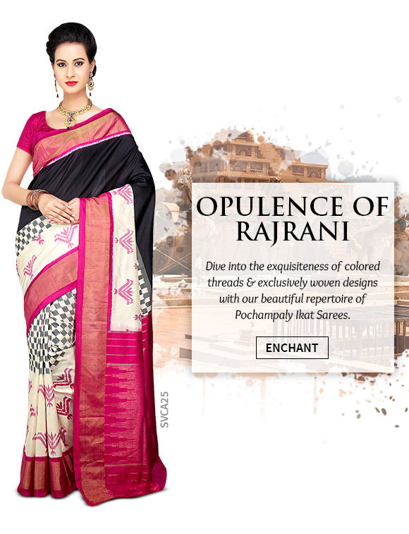 A wide array of lovely Pochampaly Ikat Sarees. Shop Now!