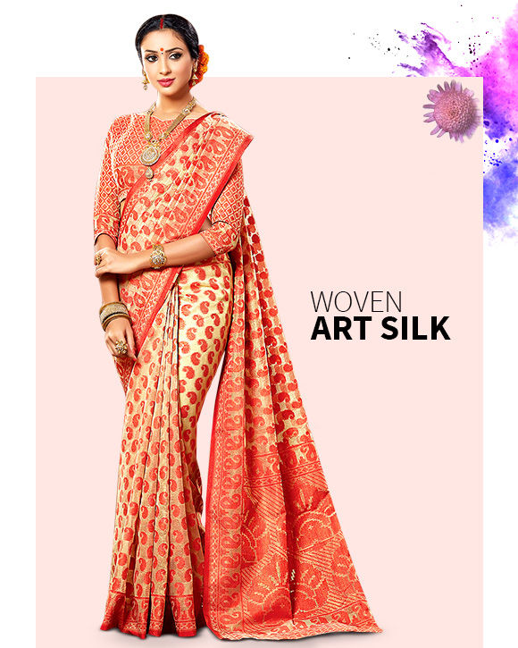 Get Woven Art Silk Sarees. Buy Now!