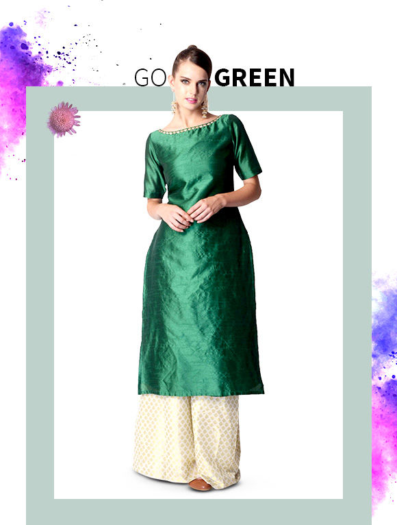 Get Sarees, Salwar Suits, Lehengas & more in Green hue. Shop Now!
