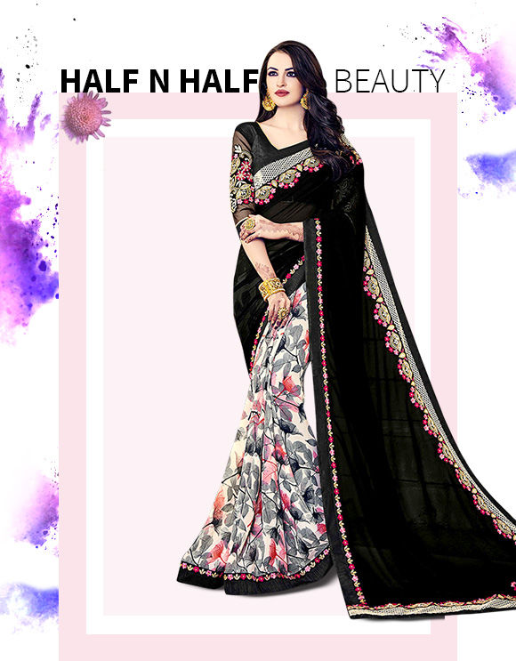 Get our new collection of Half N Half Sarees. Buy Now!