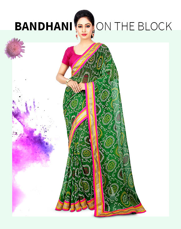 Get our lovely array of Bandhani Printed Sarees. Buy Now!