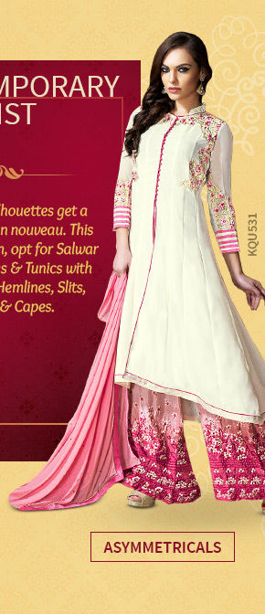 A lovely collection of Attires with Asymmetrical Hemlines. Shop Now!