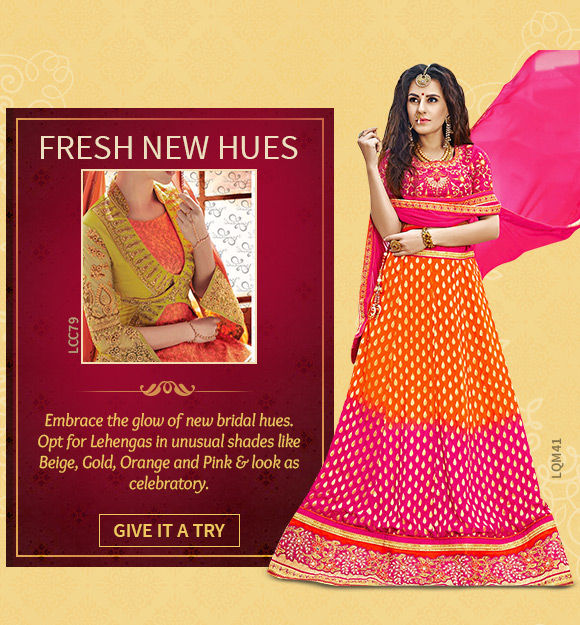 Choose from our wide array of Lehenga Cholis in Beige, Gold, Orange & more. Shop Now!