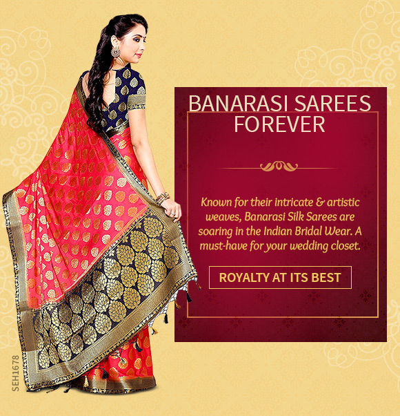 A gorgeous repertoire of Banarasi Silk Sarees. Shop Now!