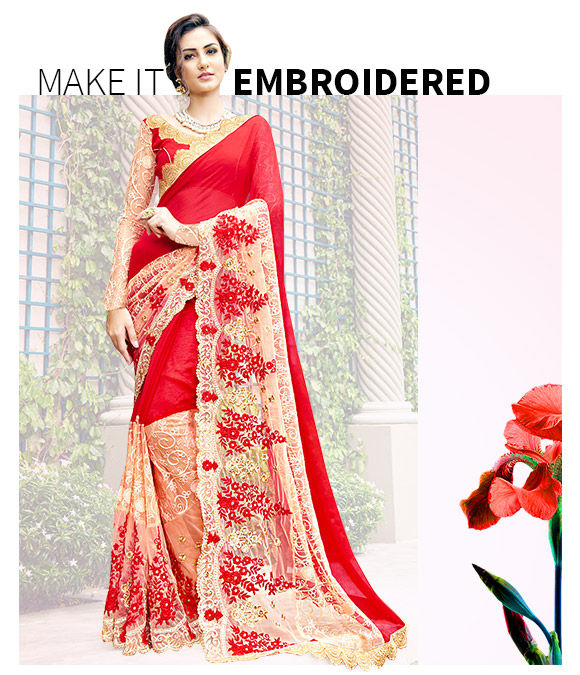 New Arrivals in Embroidered Chiffon Sarees. Shop Now!
