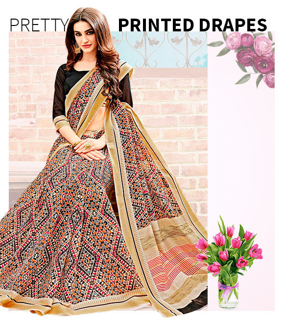 New Arrivals in Printed Sarees. Shop Now!