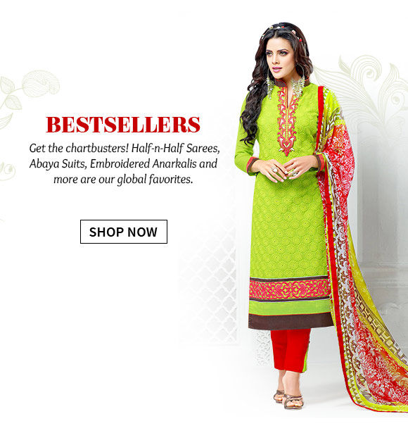 Bestselling Half-n-Half Sarees, Abaya style suits, Resham work Anarkalis, Zari weaves and more. Shop Now!