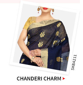 Chanderi Silk Sarees in statement borders. Shop!