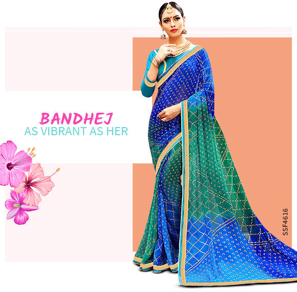 Rajasthani Sarees in vbrant colors. Shop!