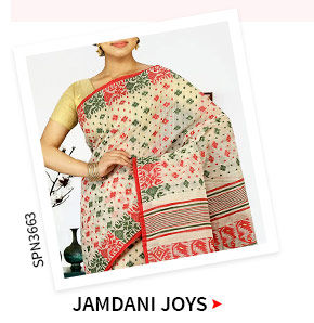 Jamdani Sarees in beautiful colors. Shop!