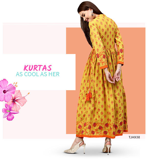 Long Kurtas in pastels and brights. Shop!