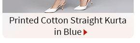 Printed Cotton Straight Kurta in Blue