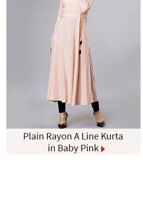 Plain Rayon A Line Kurta in Baby Pink