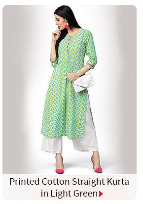Printed Cotton Straight Kurta in Light Green