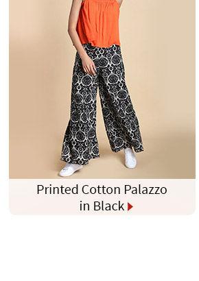 Printed Cotton Palazzo in Black