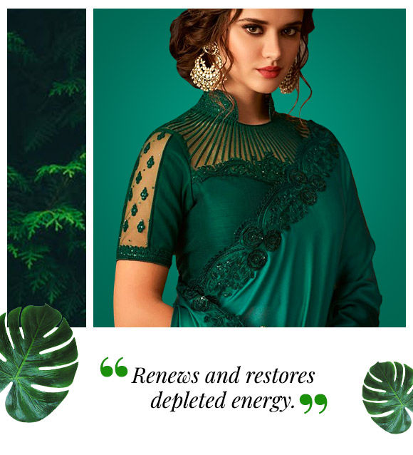 Take a look at these mood-boosting rich green silhouettes.