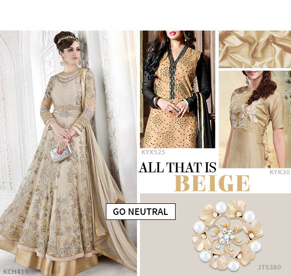 keep it subtle with a repertoire of beige salwar suits.