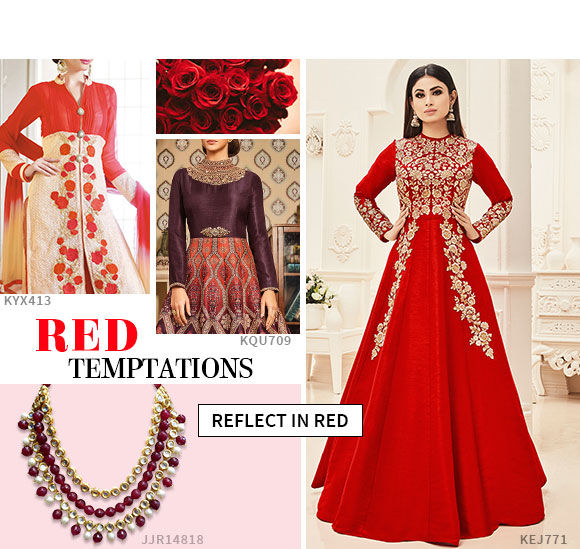Own the salwar suits in powerful red hue.