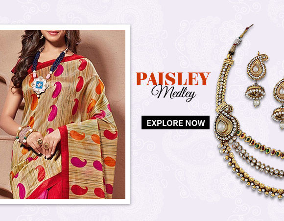 Choose from our gorgeous collection of Sarees, Salwar Kameez, Lehenga Cholis & more with paisley motifs. Buy Now!