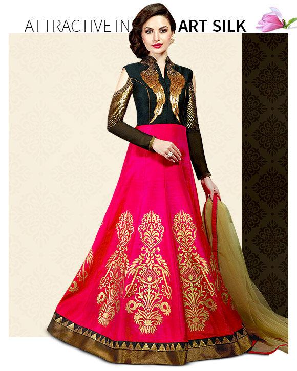 New Arrivals in Art Silk Salwar Suits. Shop Now!