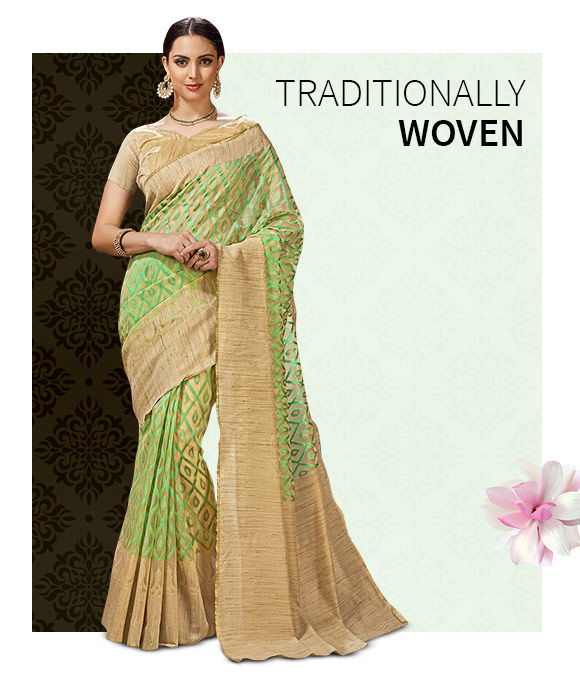 New Arrivals in Woven Sarees. Shop Now!