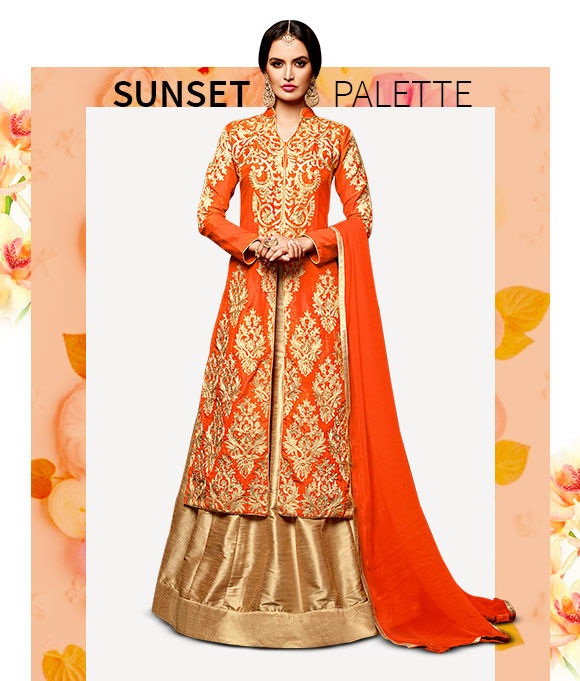 New Arrivals in Sarees, Salwar Suits, Lehenga Cholis & more in Orange hue. Shop Now!