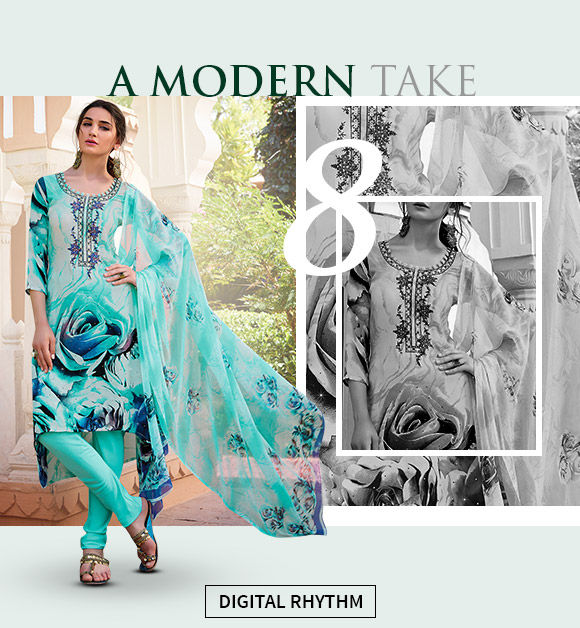 Pops of digital print in blue and green suits. Buy Now!