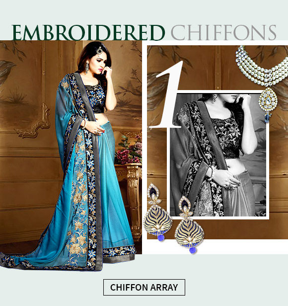A lovely collection of embroidered chiffon sarees.Shop now!