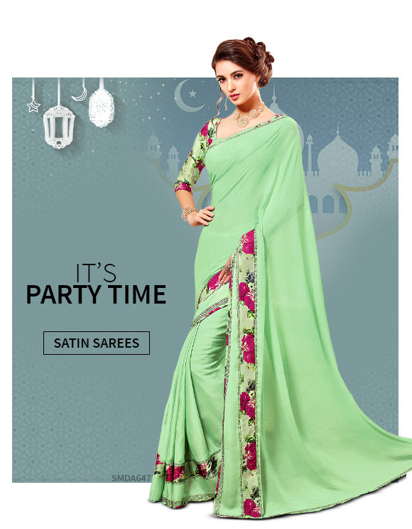New Arrivals in Satin Chiffon Sarees. Shop!