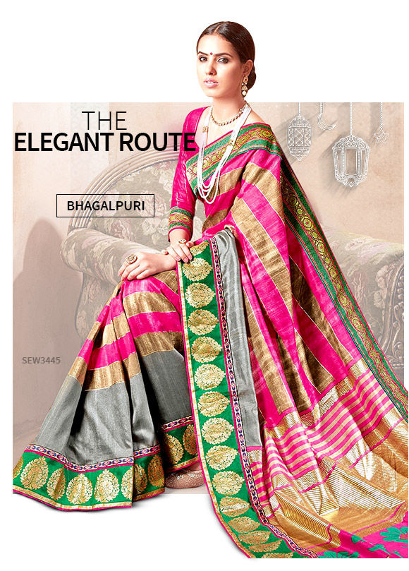 A wide array of gorgeous Bhagalpuri Silk Sarees. Shop!