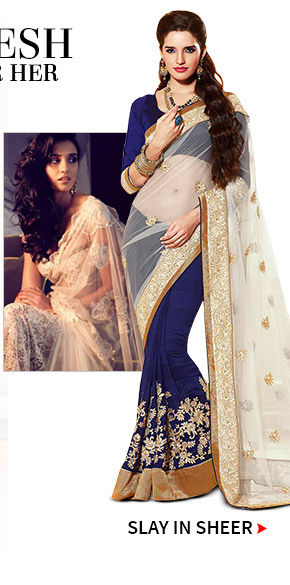 Net Sarees with embroidery. Shop!
