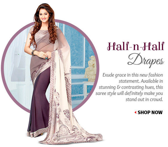 Select from our scintillating array of Half n Half Sarees. Buy Now!