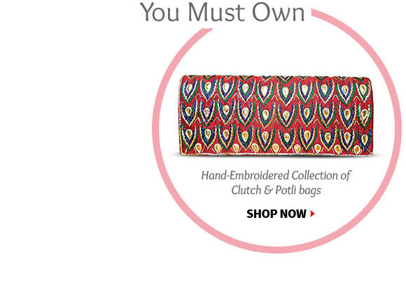 Embroidered Cotton Potli Bags, Art Silk Clutch Bags & more. Buy Now!
